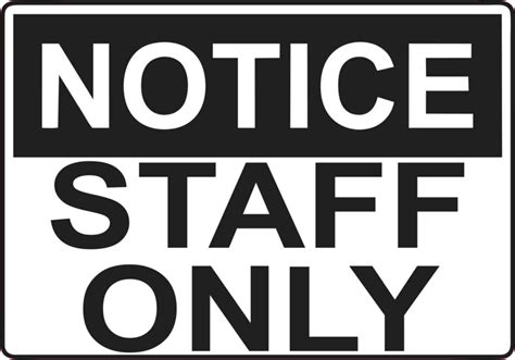 Wall Letters Stickers 5in x 3 5in notice staff only sticker vinyl door wall sign