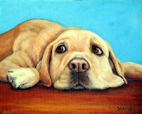 Labrador Retriever Artwork by Labrador Retriever Art 8x10 Dog Art Print Lazy Yellow