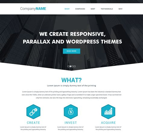 parallax templates simple parallax website template free psd