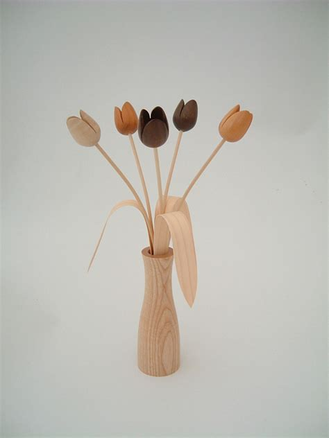 Handmade Wooden Flowers - cool flower vase by martin jones burford