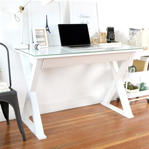 Home Office Desk White Walker Edison Furniture Company Home Office 48 In Glass And Metal White Computer Desk Hd48x30wh