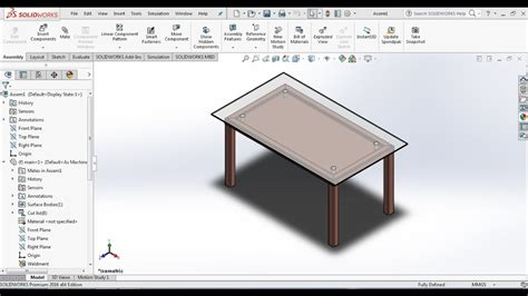 tutorial solidworks design table solidworks tutorials how to design a dining table set in