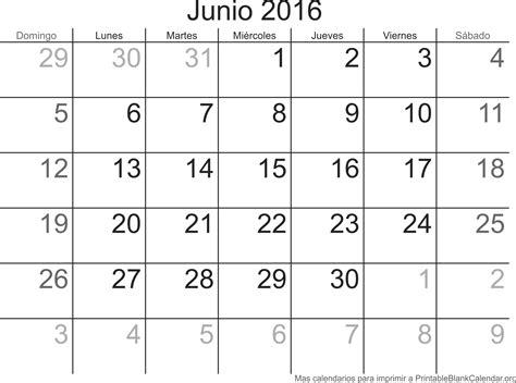 Calendario De Junio Junio 2016 Calendario Para Imprimir Calendarios Para