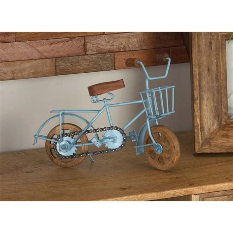 8 in x 10 in vintage iron and mango wood bicycle home