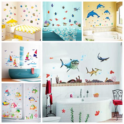 kids bathroom wall stickers waterproof wall sticker wall decal adhesive home decor art