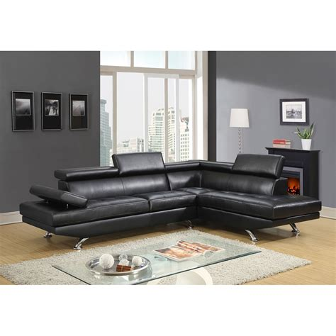 black bonded leather sofa leslie bonded leather sectional sofa in black dcg stores