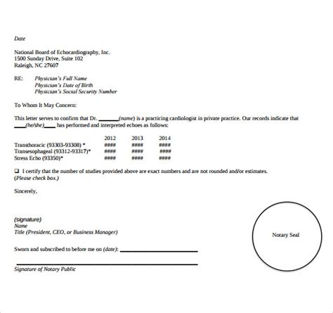 sample notarized letter templates ms