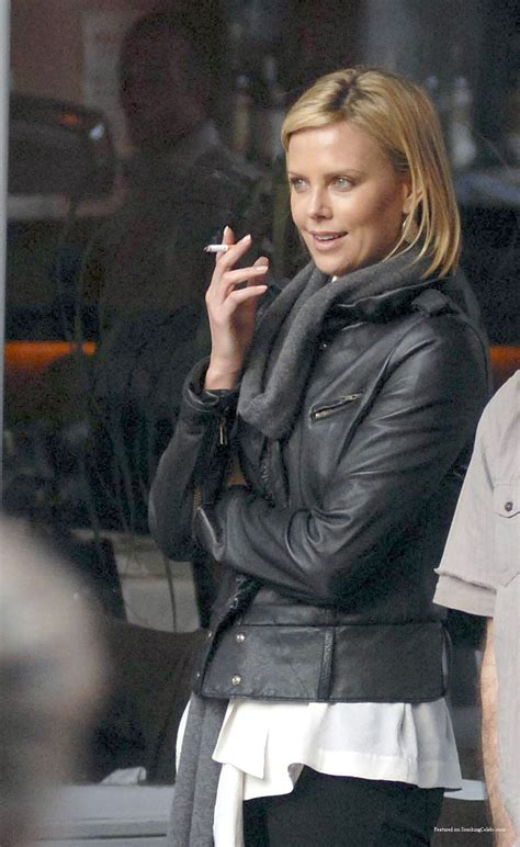 uk female celebrities smoking charlize theron smoking a cigarette or weed smokin