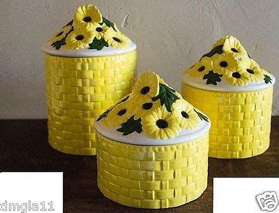 vintage ceramic canisters yellow basketweave by 1000 images about daisies for kitchen on pinterest