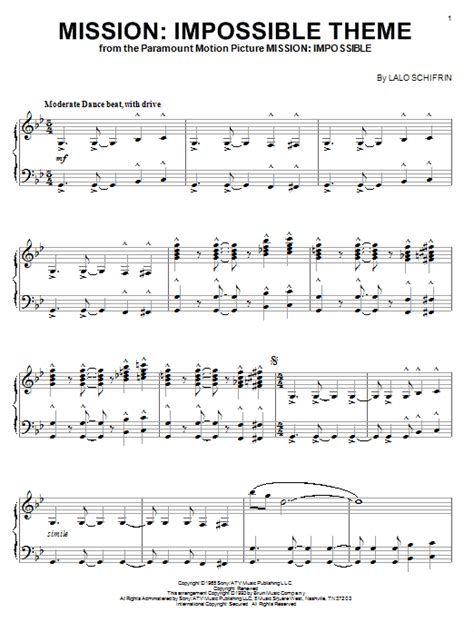 tutorial piano mission impossible mission impossible theme sheet music direct