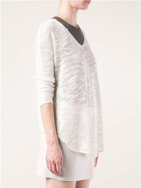 helmut lang knit sweater helmut lang irregular knit sweater in white lyst