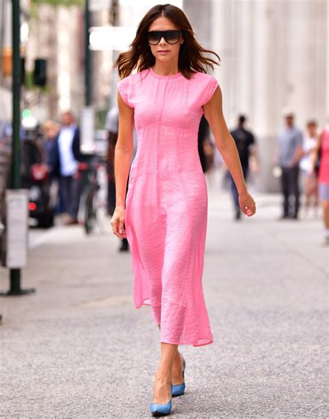 Beckham Dress beckham pink dress in nyc 2018 popsugar fashion