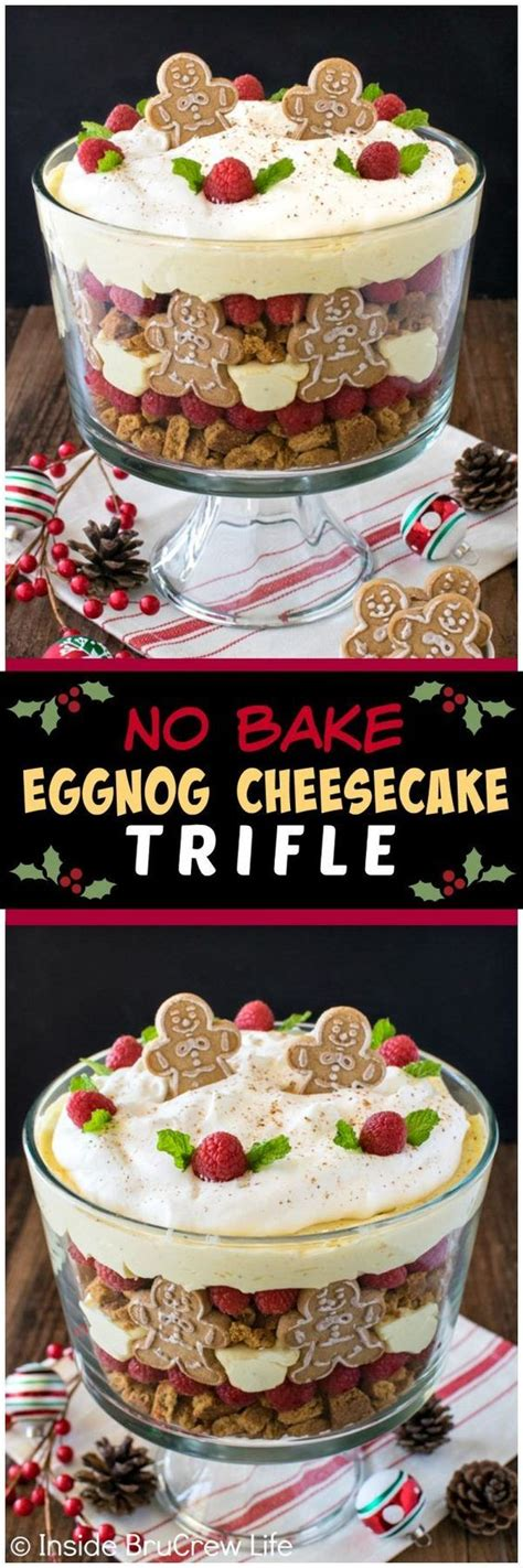 no cook office christmas party food no bake eggnog cheesecake trifle recipe
