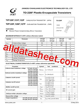 transistor tip 121 datasheet tip121f datasheet pdf jiangsu changjiang electronics technology co ltd