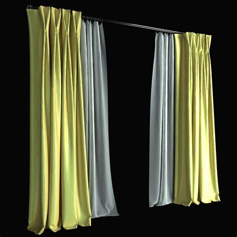 pinch curtains double pinch pleat curtains 3d model max obj fbx