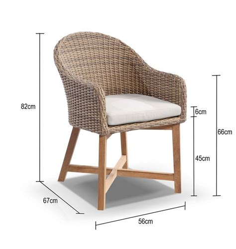 coastal wicker outdoor dining chair with teak timber legs