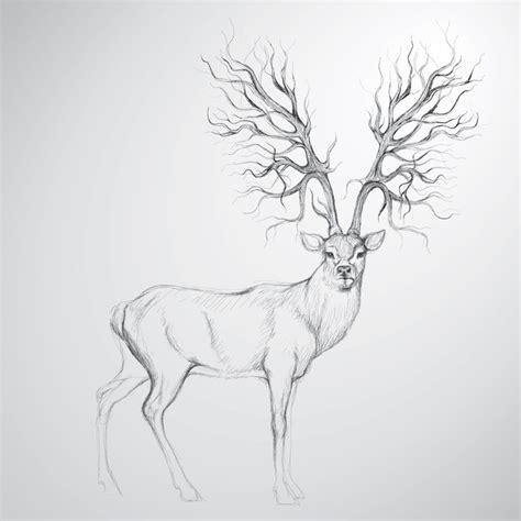 full body deer tattoo sticker cerf avec antler comme arbre croquis r 233 aliste