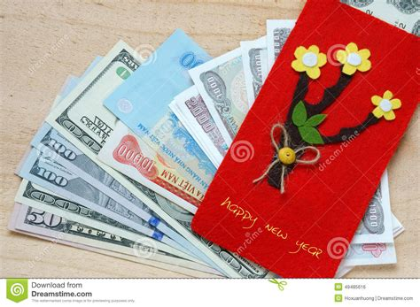 new year traditions lucky money tet envelope lucky money stock photo image