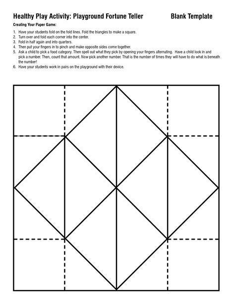 Fortune Teller Origami Template - 5 best images of paper fortune teller template printable