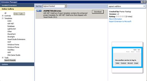 templates asp net visual studio 2012 asp net web forms application 2012 templates on visual