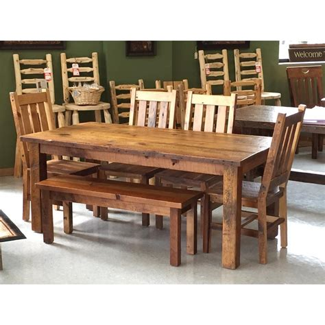 log dining room sets amish barnwood farmers table and chair set the log furniture store