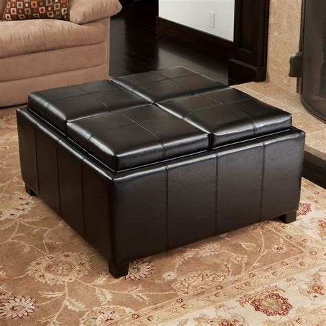 Leather Ottoman Storage Best Selling Home Decor Dartmouth 4 Sectioned Bonded Leather Cube Storage Ottoman Lowe S Canada
