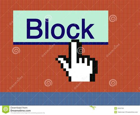 Blockers Free Cursor And Block Button Stock Image Image Of Screen Monitor 5552159