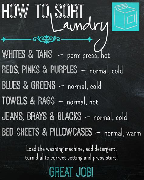 how to wash colors free printable how to sort laundry chart
