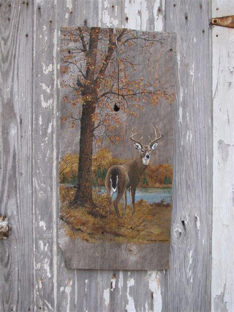 vintage painted barn wood buck deer in woodland wall