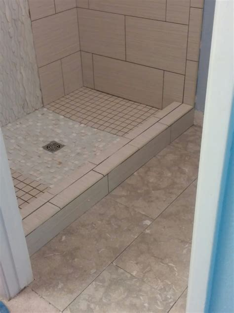 Accent Plumbing by Beautiful Glass Marble And Of Pearl Accent Tile On The Shower Floor And On
