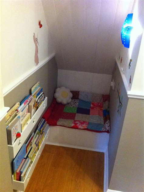 great reading corner idea for girls bedroom   Under Stairs   Pinterest
