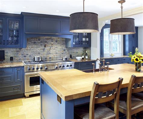 Blue Kitchen Countertops Blue Kitchen Cabinets With Wood Countertops Search Kitchen Remodel Ideas Pinterest