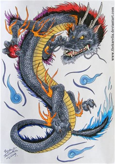 eastern dragon tattoo designs color ink asian design