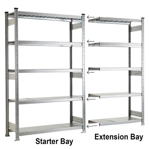 Steel Shelving Systems Galvanised 5 Level Shelving System Garage Shelves