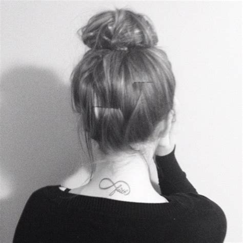 infinity tattoo back of neck tumblr black n white faith infinity symbol tattoo on back neck
