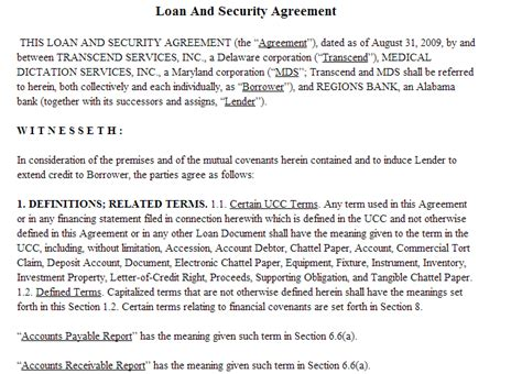 95 Best Agreement Templates Sle Templates Loan And Security Agreement Template