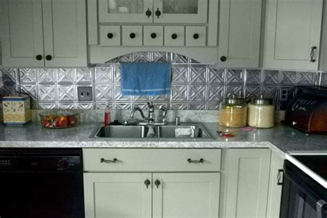tin backsplash kitchen painted kitchen cabinets shaker doors cliqstudios