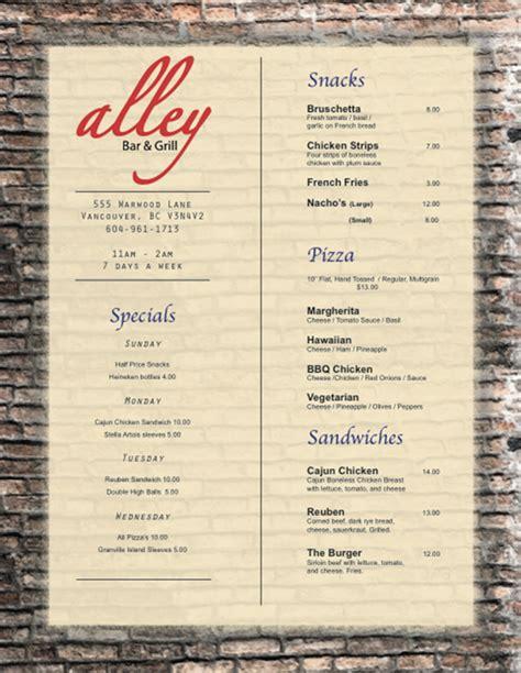 bar and grill menu templates 17 bar grill menu design images bar and grill menu ideas