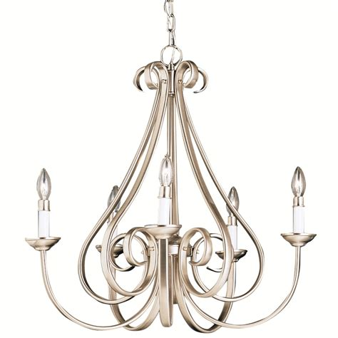 Brushed Nickel Chandelier Shop Portfolio Dover Brushed Nickel Chandelier At Lowes