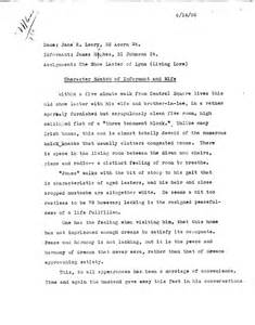 Character Sketch Essay Exle by Character Sketch Of Informant And Library Of Congress