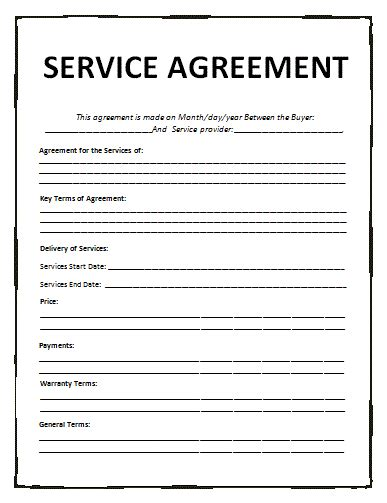 service agreement template general contract for services template free printable