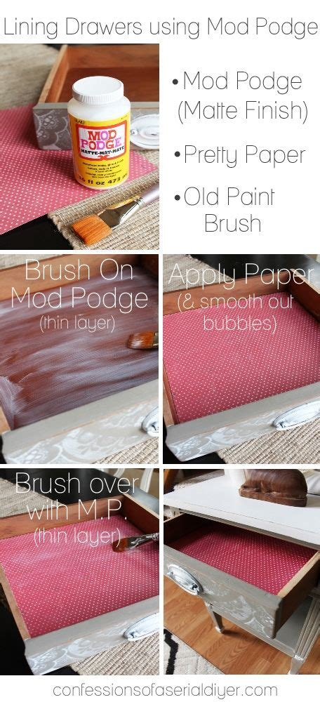how to add lining to drawers using mod podge quot diy home
