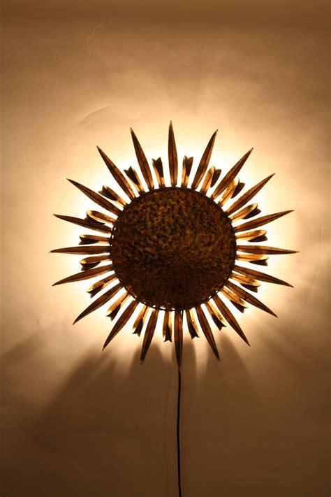 gilt iron sunburst wall sconce or ceiling light