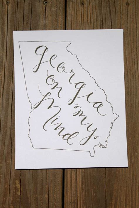uga home decor georgia on my mind hand lettered calligraphy state outline