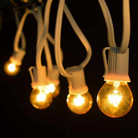 25 commercial yellow globe light strand white c9 strand