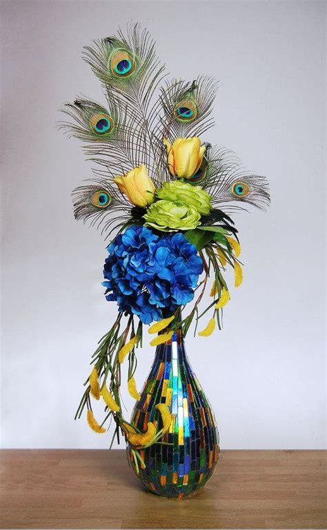 Large Colorful Peacock Feather Floral Arrangement with