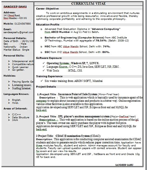 One Page Resume Sles Doc One Page Resume Format In Doc
