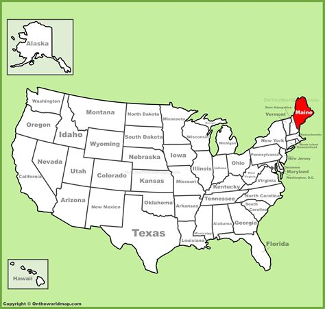 usa map states maine maine location on the u s map
