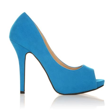 turquoise faux suede stiletto high heel platform peep