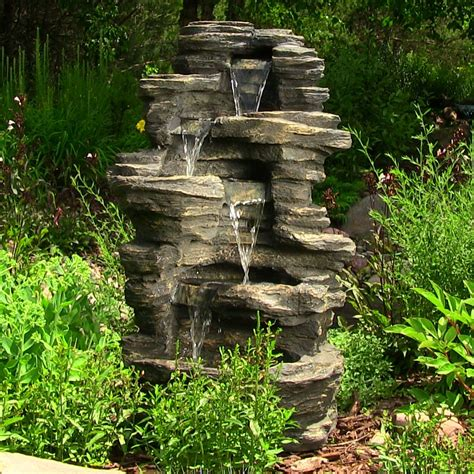 Outdoor Fountains With Lights Outdoor Rock Waterfall 39 Inches With Led Lights By Sunnydaze Decor Nexusdecor Nexus